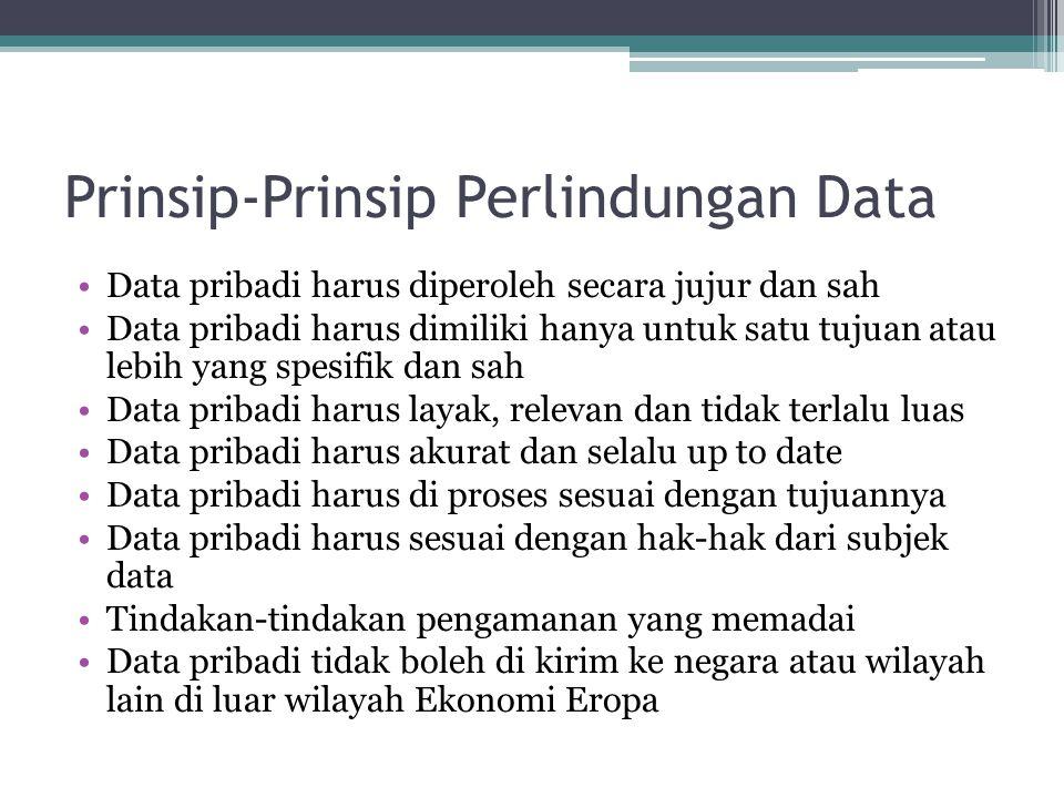 Prinsip-Prinsip Perlindungan Data Data pribadi harus diperoleh secara jujur dan sah Data pribadi harus dimiliki hanya untuk satu tujuan atau lebih yan