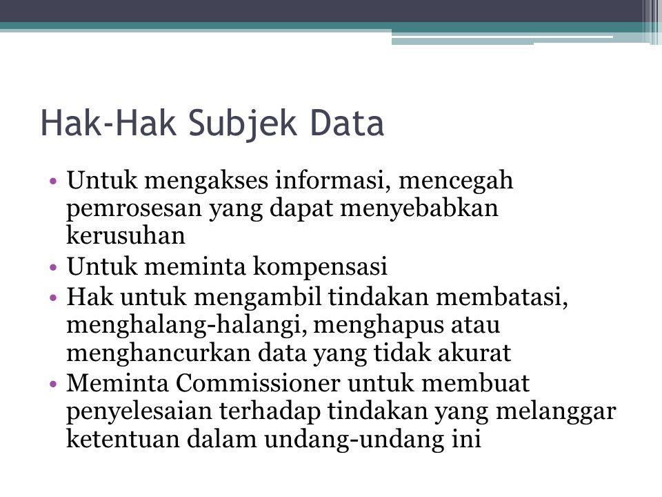 Hak-Hak Subjek Data Untuk mengakses informasi, mencegah pemrosesan yang dapat menyebabkan kerusuhan Untuk meminta kompensasi Hak untuk mengambil tinda