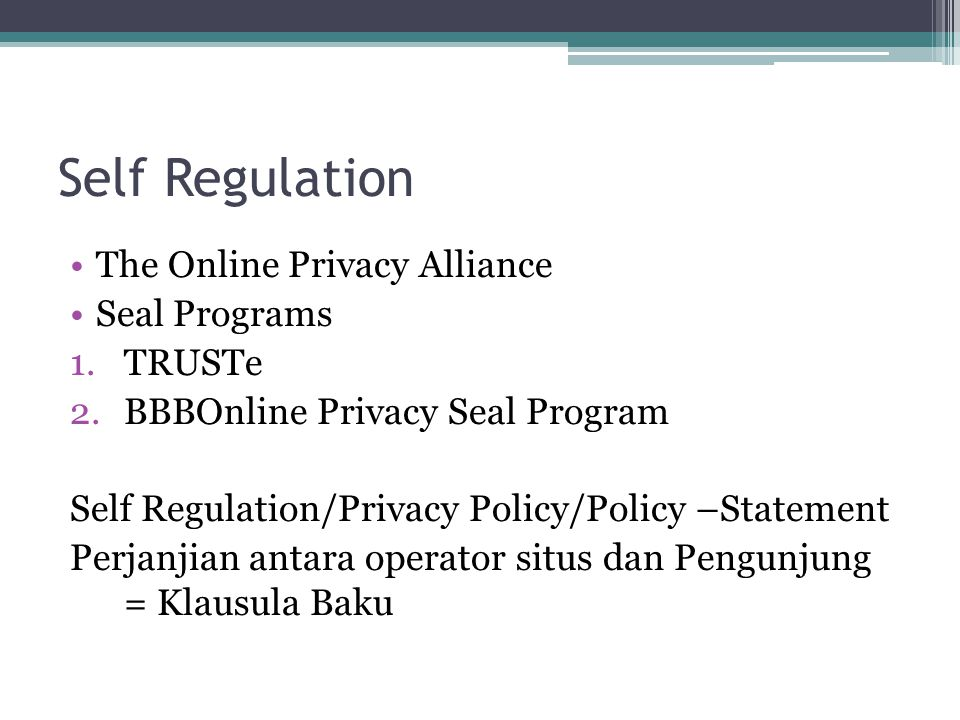 Self Regulation The Online Privacy Alliance Seal Programs 1.TRUSTe 2.BBBOnline Privacy Seal Program Self Regulation/Privacy Policy/Policy –Statement P