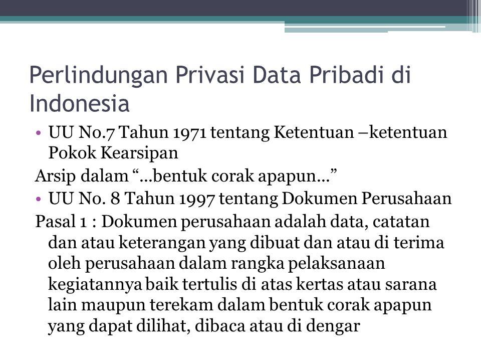 """Perlindungan Privasi Data Pribadi di Indonesia UU No.7 Tahun 1971 tentang Ketentuan –ketentuan Pokok Kearsipan Arsip dalam """"...bentuk corak apapun..."""""""