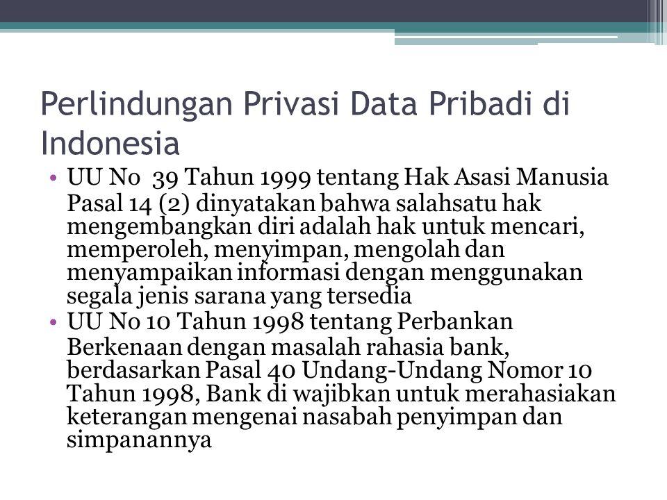 Perlindungan Privasi Data Pribadi di Indonesia UU No 39 Tahun 1999 tentang Hak Asasi Manusia Pasal 14 (2) dinyatakan bahwa salahsatu hak mengembangkan