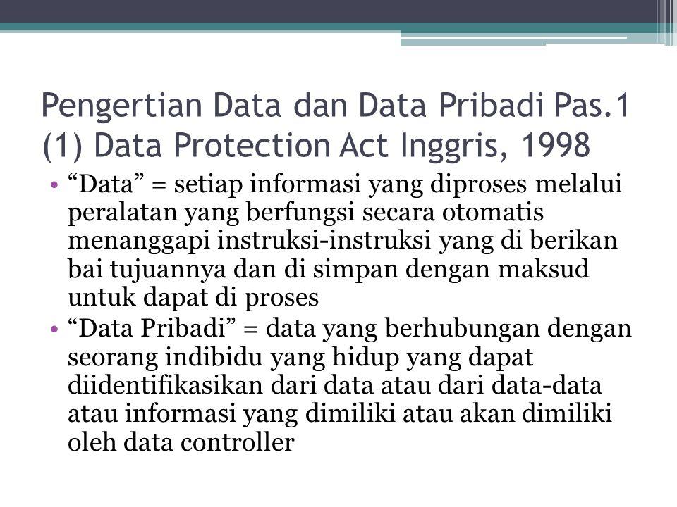 """Pengertian Data dan Data Pribadi Pas.1 (1) Data Protection Act Inggris, 1998 """"Data"""" = setiap informasi yang diproses melalui peralatan yang berfungsi"""