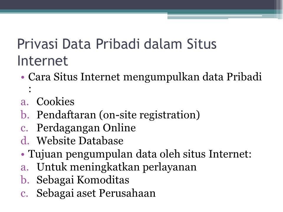 Privasi Data Pribadi dalam Situs Internet Cara Situs Internet mengumpulkan data Pribadi : a.Cookies b.Pendaftaran (on-site registration) c.Perdagangan