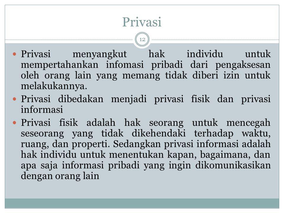 Privasi 12 Privasi menyangkut hak individu untuk mempertahankan infomasi pribadi dari pengaksesan oleh orang lain yang memang tidak diberi izin untuk melakukannya.