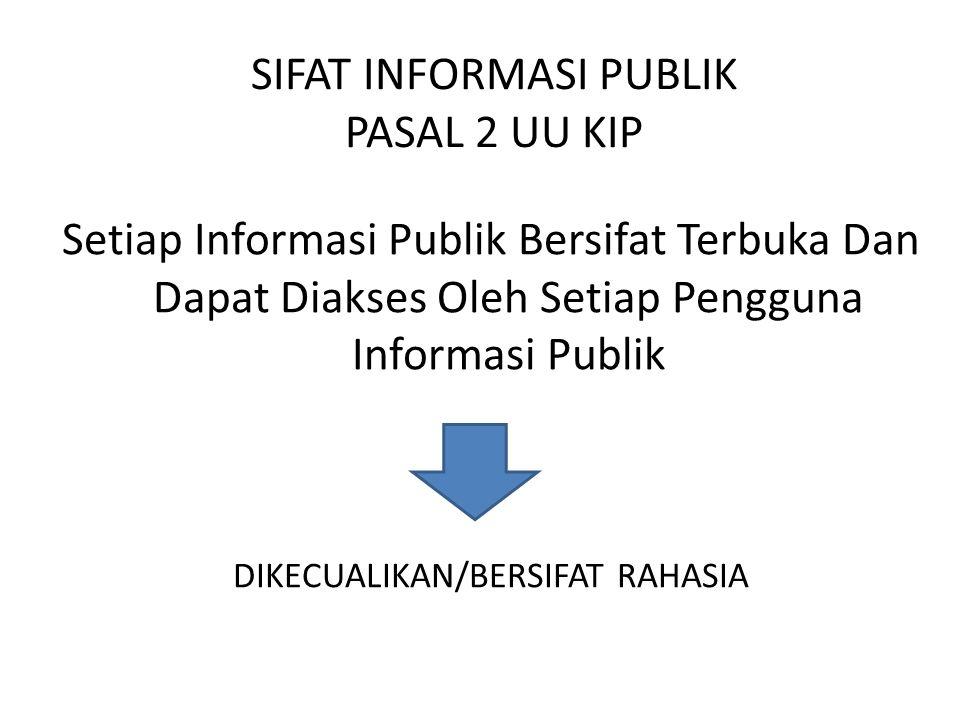 SIFAT INFORMASI PUBLIK PASAL 2 UU KIP Setiap Informasi Publik Bersifat Terbuka Dan Dapat Diakses Oleh Setiap Pengguna Informasi Publik DIKECUALIKAN/BERSIFAT RAHASIA