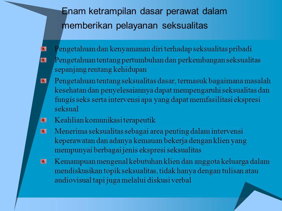 Enam ketrampilan dasar perawat dalam memberikan pelayanan seksualitas Pengetahuan dan kenyamanan diri terhadap seksualitas pribadi Pengetahuan tentang