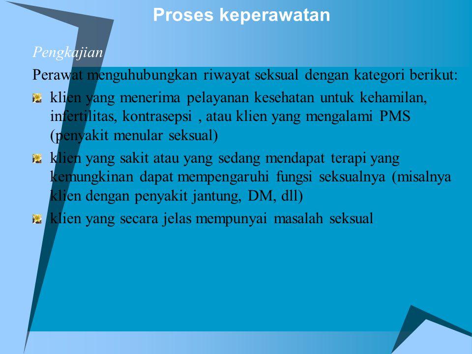 Proses keperawatan Pengkajian Perawat menguhubungkan riwayat seksual dengan kategori berikut: klien yang menerima pelayanan kesehatan untuk kehamilan,