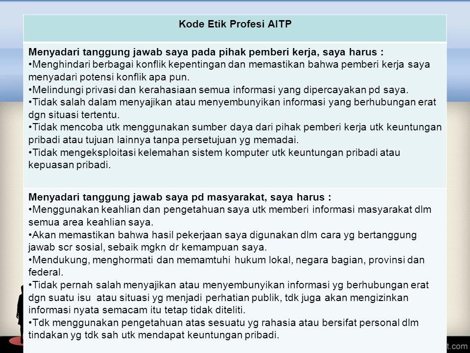 Kode Etik Profesi AITP Menyadari tanggung jawab saya pada pihak pemberi kerja, saya harus : Menghindari berbagai konflik kepentingan dan memastikan ba
