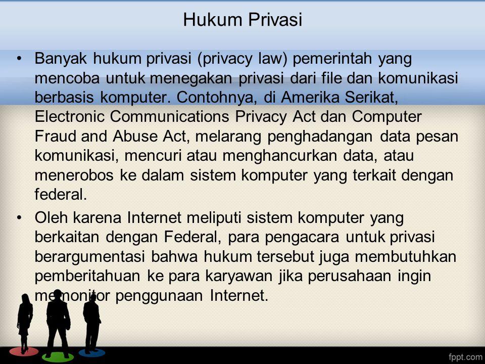 Hukum Privasi Banyak hukum privasi (privacy law) pemerintah yang mencoba untuk menegakan privasi dari file dan komunikasi berbasis komputer. Contohnya