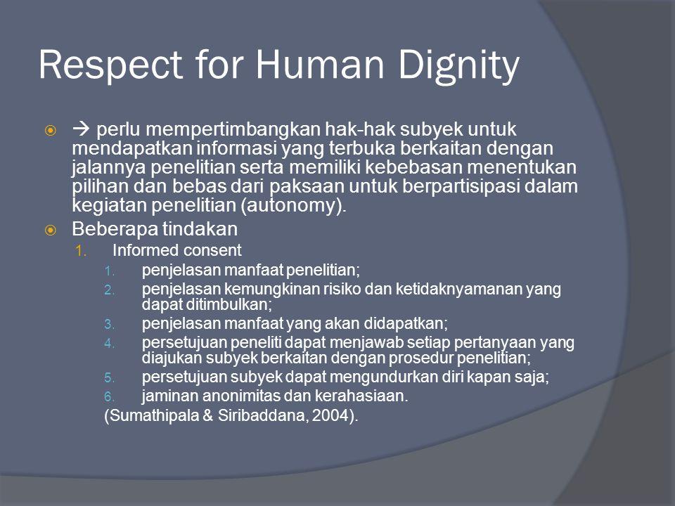 Respect for Human Dignity   perlu mempertimbangkan hak-hak subyek untuk mendapatkan informasi yang terbuka berkaitan dengan jalannya penelitian sert