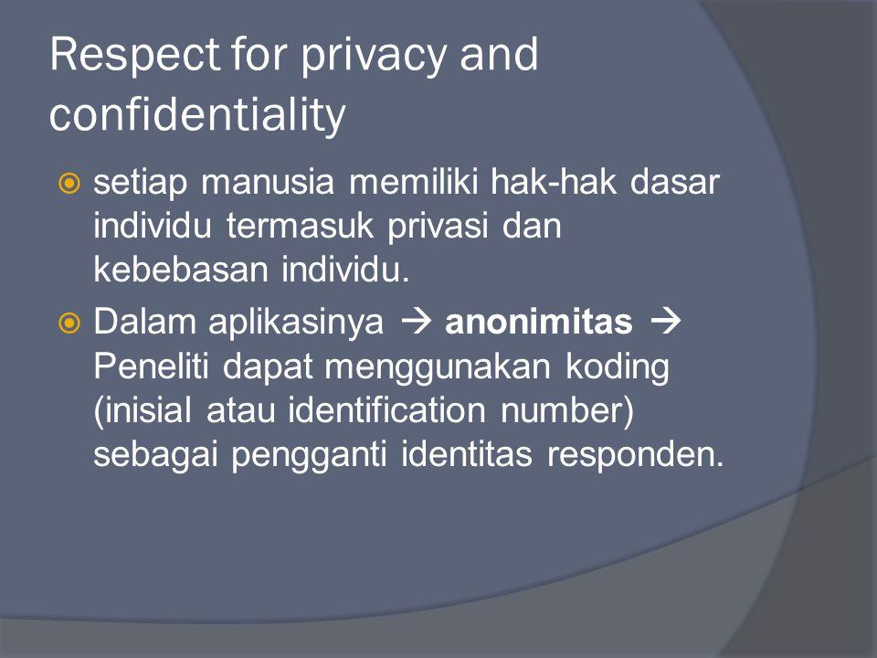 Respect for privacy and confidentiality  setiap manusia memiliki hak-hak dasar individu termasuk privasi dan kebebasan individu.  Dalam aplikasinya