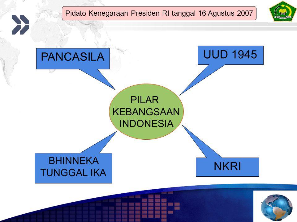 PILAR KEBANGSAAN INDONESIA PANCASILA UUD 1945 NKRI BHINNEKA TUNGGAL IKA Pidato Kenegaraan Presiden RI tanggal 16 Agustus 2007