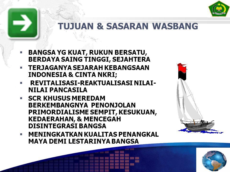  BANGSA YG KUAT, RUKUN BERSATU, BERDAYA SAING TINGGI, SEJAHTERA  TERJAGANYA SEJARAH KEBANGSAAN INDONESIA & CINTA NKRI;  REVITALISASI-REAKTUALISASI NILAI- NILAI PANCASILA  SCR KHUSUS MEREDAM BERKEMBANGNYA PENONJOLAN PRIMORDIALISME SEMPIT, KESUKUAN, KEDAERAHAN, & MENCEGAH DISINTEGRASI BANGSA  MENINGKATKAN KUALITAS PENANGKAL MAYA DEMI LESTARINYA BANGSA TUJUAN & SASARAN WASBANG