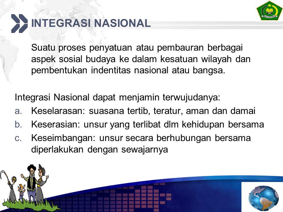 INTEGRASI NASIONAL Suatu proses penyatuan atau pembauran berbagai aspek sosial budaya ke dalam kesatuan wilayah dan pembentukan indentitas nasional at