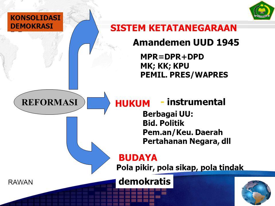 SISTEM KETATANEGARAAN HUKUM BUDAYA Amandemen UUD 1945 - instrumental Pola pikir, pola sikap, pola tindak demokratis MPR=DPR+DPD MK; KK; KPU PEMIL. PRE