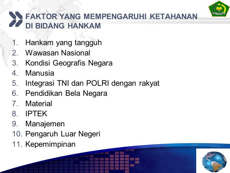 FAKTOR YANG MEMPENGARUHI KETAHANAN DI BIDANG HANKAM 1.Hankam yang tangguh 2.Wawasan Nasional 3.Kondisi Geografis Negara 4.Manusia 5.Integrasi TNI dan