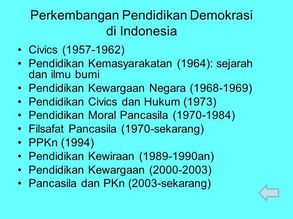 Perkembangan Pendidikan Demokrasi di Indonesia Civics (1957-1962) Pendidikan Kemasyarakatan (1964): sejarah dan ilmu bumi Pendidikan Kewargaan Negara