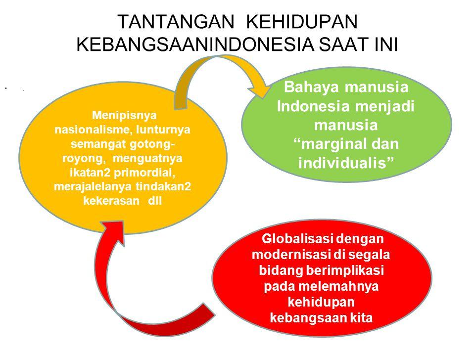KONDISI AKTUAL SAAT INI ERA ORBA 32 THN BAWA DAMPAK KERAWANAN SOSIAL YG TINGSI, KRNG TAK PERHATIKAN : 1.KESEIMBANGAN BANGWIL, AKIBATKAN KESENJANGAN SOSIAL ANTAR WIL 2.PROSES DEMOKRASI, YAITU BERKEMBANGNYA PRIMORDIALISME YG AKIBATNYA TERSUMBAT ARUS KOMUNIKASI SHG PROSES DEMOKRASI TiDAK JALAN 3.