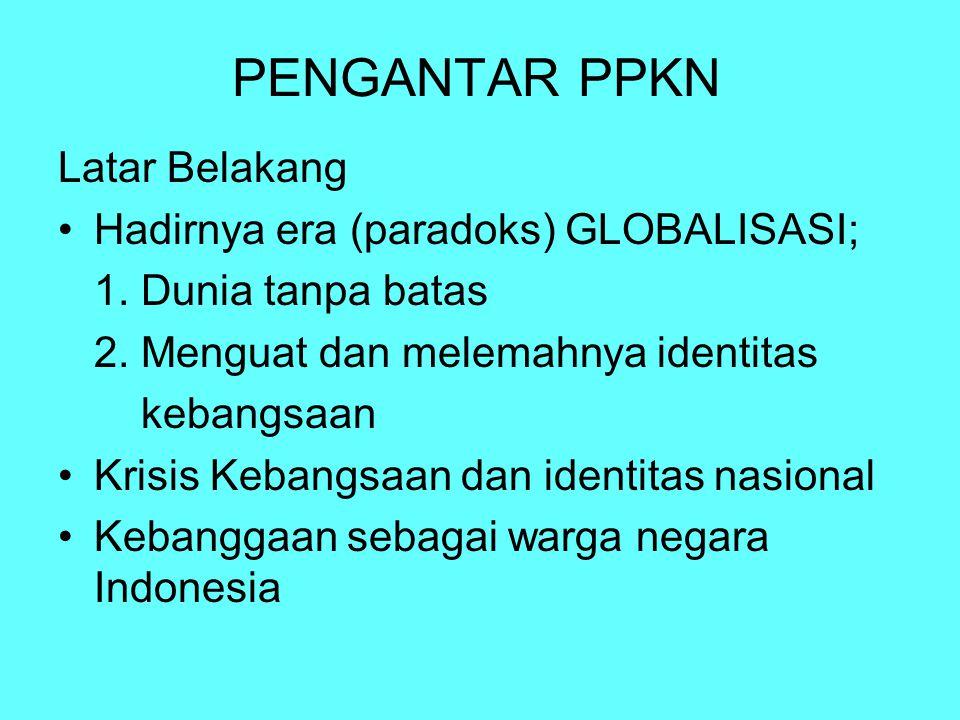 Perkembangan Pendidikan Demokrasi di Indonesia Civics (1957-1962) Pendidikan Kemasyarakatan (1964): sejarah dan ilmu bumi Pendidikan Kewargaan Negara (1968-1969) Pendidikan Civics dan Hukum (1973) Pendidikan Moral Pancasila (1970-1984) Filsafat Pancasila (1970-sekarang) PPKn (1994) Pendidikan Kewiraan (1989-1990an) Pendidikan Kewargaan (2000-2003) Pancasila dan PKn (2003-sekarang)