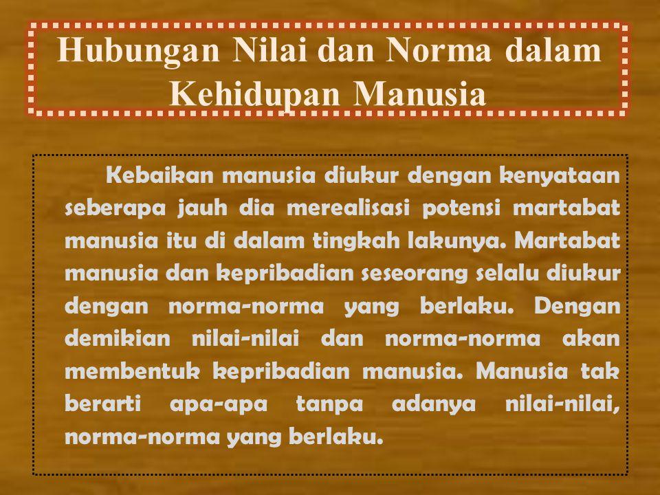 Hubungan Nilai dan Norma dalam Kehidupan Manusia Kebaikan manusia diukur dengan kenyataan seberapa jauh dia merealisasi potensi martabat manusia itu d