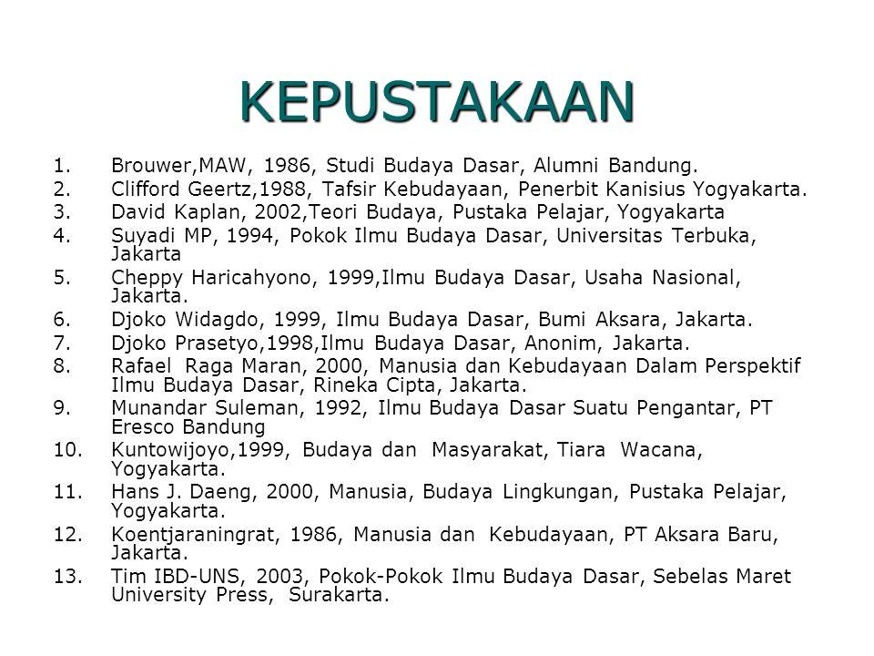 KEPUSTAKAAN 1.Brouwer,MAW, 1986, Studi Budaya Dasar, Alumni Bandung. 2.Clifford Geertz,1988, Tafsir Kebudayaan, Penerbit Kanisius Yogyakarta. 3.David