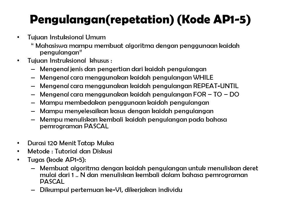 """Pengkondisian (Conditional) (Kode AP1-4) Tujuan Instuksional Umum """" Mahasiswa mampu membuat algoritma dengan penggunaan kaidah pengkondisian """" Tujuan"""