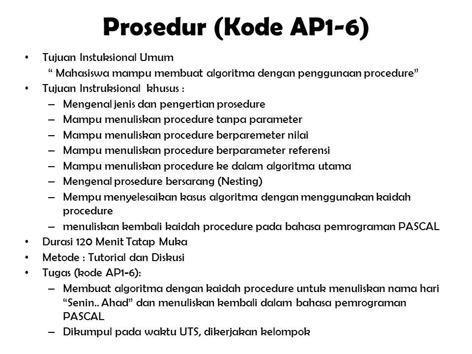 """Pengulangan(repetation) (Kode AP1-5) Tujuan Instuksional Umum """" Mahasiswa mampu membuat algoritma dengan penggunaan kaidah pengulangan"""" Tujuan Instruk"""
