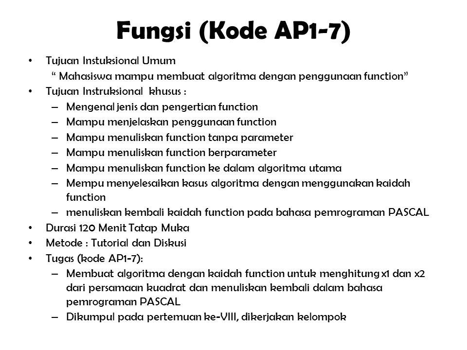 """Prosedur (Kode AP1-6) Tujuan Instuksional Umum """" Mahasiswa mampu membuat algoritma dengan penggunaan procedure"""" Tujuan Instruksional khusus : – Mengen"""
