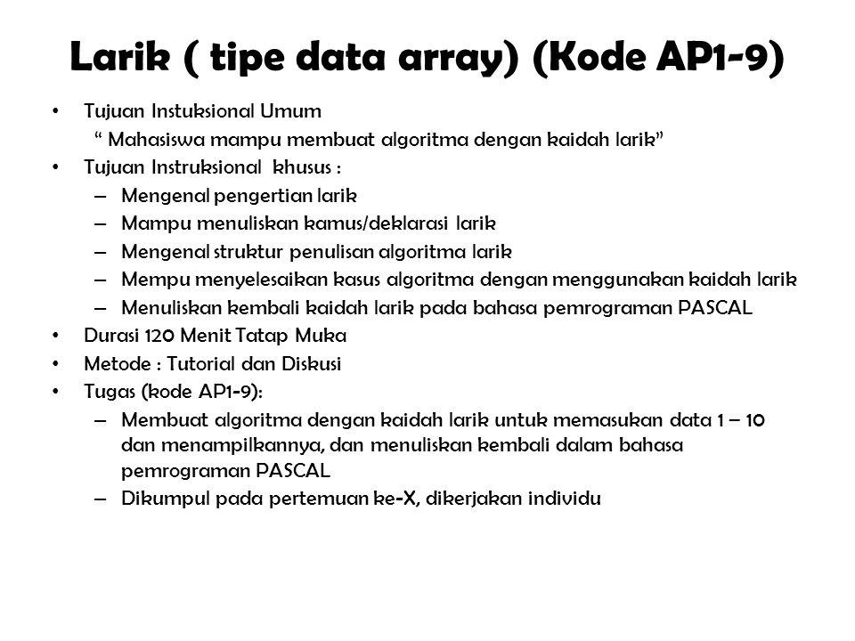 """Algoritma Rekursif (Kode AP1-8) Tujuan Instuksional Umum """" Mahasiswa mampu membuat algoritma dengan kaidah rekursif"""" Tujuan Instruksional khusus : – M"""