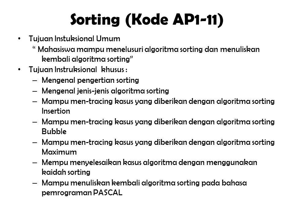 """Searching (Kode AP1-10) Tujuan Instuksional Umum """" Mahasiswa mampu menelusuri algoritma searching dan menuliskan kembali algoritma searching"""" Tujuan I"""