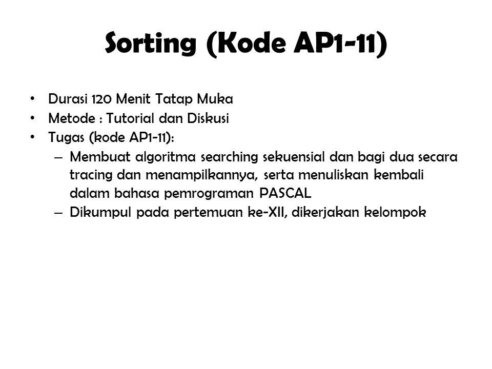 """Sorting (Kode AP1-11) Tujuan Instuksional Umum """" Mahasiswa mampu menelusuri algoritma sorting dan menuliskan kembali algoritma sorting"""" Tujuan Instruk"""