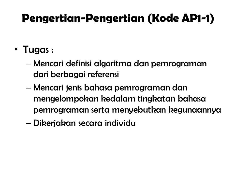 Pengertian-Pengertian (Kode AP1-1) Tugas : – Mencari definisi algoritma dan pemrograman dari berbagai referensi – Mencari jenis bahasa pemrograman dan mengelompokan kedalam tingkatan bahasa pemrograman serta menyebutkan kegunaannya – Dikerjakan secara individu