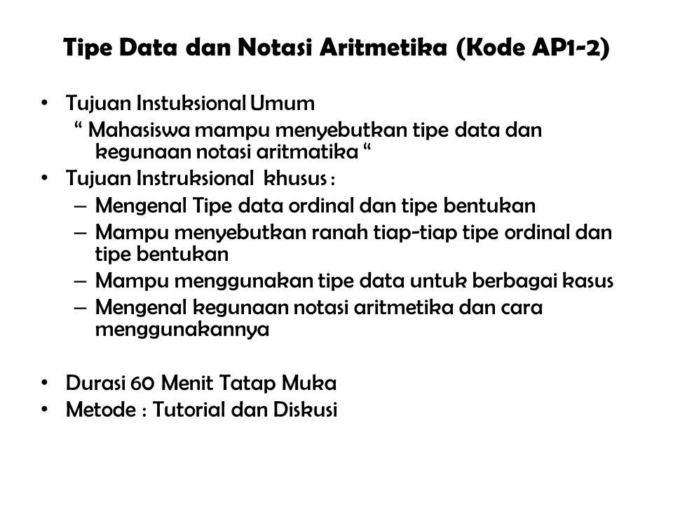 Tipe Data dan Notasi Aritmetika (Kode AP1-2) Tujuan Instuksional Umum Mahasiswa mampu menyebutkan tipe data dan kegunaan notasi aritmatika Tujuan Instruksional khusus : – Mengenal Tipe data ordinal dan tipe bentukan – Mampu menyebutkan ranah tiap-tiap tipe ordinal dan tipe bentukan – Mampu menggunakan tipe data untuk berbagai kasus – Mengenal kegunaan notasi aritmetika dan cara menggunakannya Durasi 60 Menit Tatap Muka Metode : Tutorial dan Diskusi