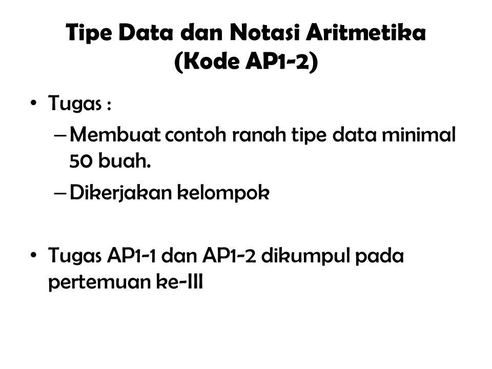 """Tipe Data dan Notasi Aritmetika (Kode AP1-2) Tujuan Instuksional Umum """" Mahasiswa mampu menyebutkan tipe data dan kegunaan notasi aritmatika """" Tujuan"""