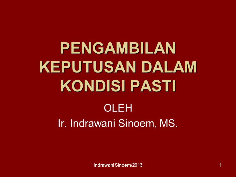 PENGAMBILAN KEPUTUSAN DALAM KONDISI PASTI OLEH Ir. Indrawani Sinoem, MS. 1Indrawani Sinoem/2013