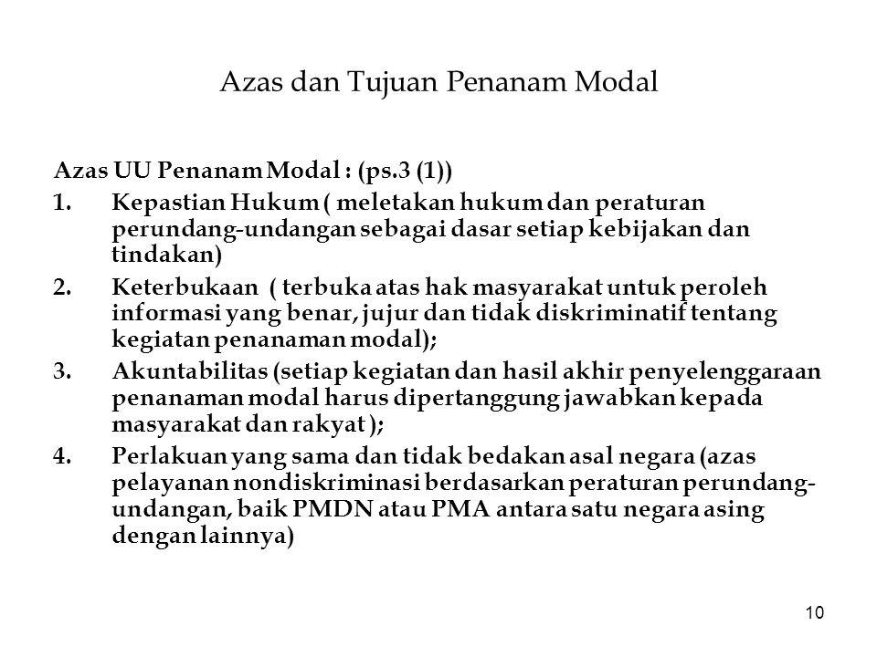 10 Azas dan Tujuan Penanam Modal Azas UU Penanam Modal : (ps.3 (1)) 1.Kepastian Hukum ( meletakan hukum dan peraturan perundang-undangan sebagai dasar