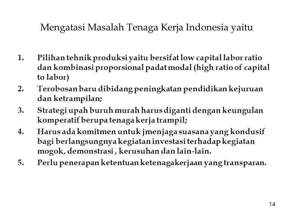 14 Mengatasi Masalah Tenaga Kerja Indonesia yaitu 1.Pilihan tehnik produksi yaitu bersifat low capital labor ratio dan kombinasi proporsional padat mo
