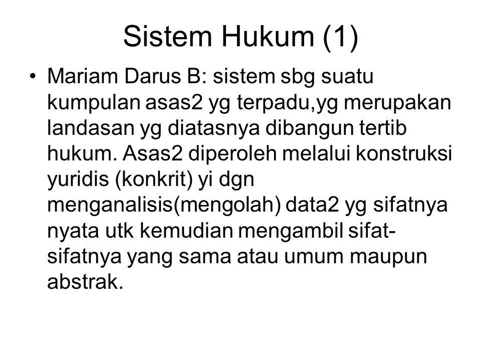 Sistem Hukum (1) Mariam Darus B: sistem sbg suatu kumpulan asas2 yg terpadu,yg merupakan landasan yg diatasnya dibangun tertib hukum. Asas2 diperoleh