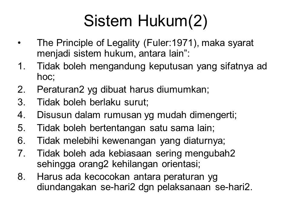 """Sistem Hukum(2) The Principle of Legality (Fuler:1971), maka syarat menjadi sistem hukum, antara lain"""": 1.Tidak boleh mengandung keputusan yang sifatn"""