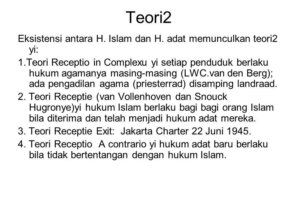 Teori2 Eksistensi antara H. Islam dan H. adat memunculkan teori2 yi: 1.Teori Receptio in Complexu yi setiap penduduk berlaku hukum agamanya masing-mas