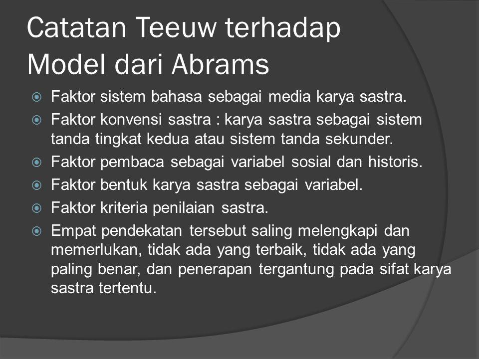 Catatan Teeuw terhadap Model dari Abrams  Faktor sistem bahasa sebagai media karya sastra.  Faktor konvensi sastra : karya sastra sebagai sistem tan
