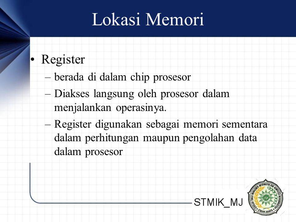 Lokasi Memori Register –berada di dalam chip prosesor –Diakses langsung oleh prosesor dalam menjalankan operasinya. –Register digunakan sebagai memori