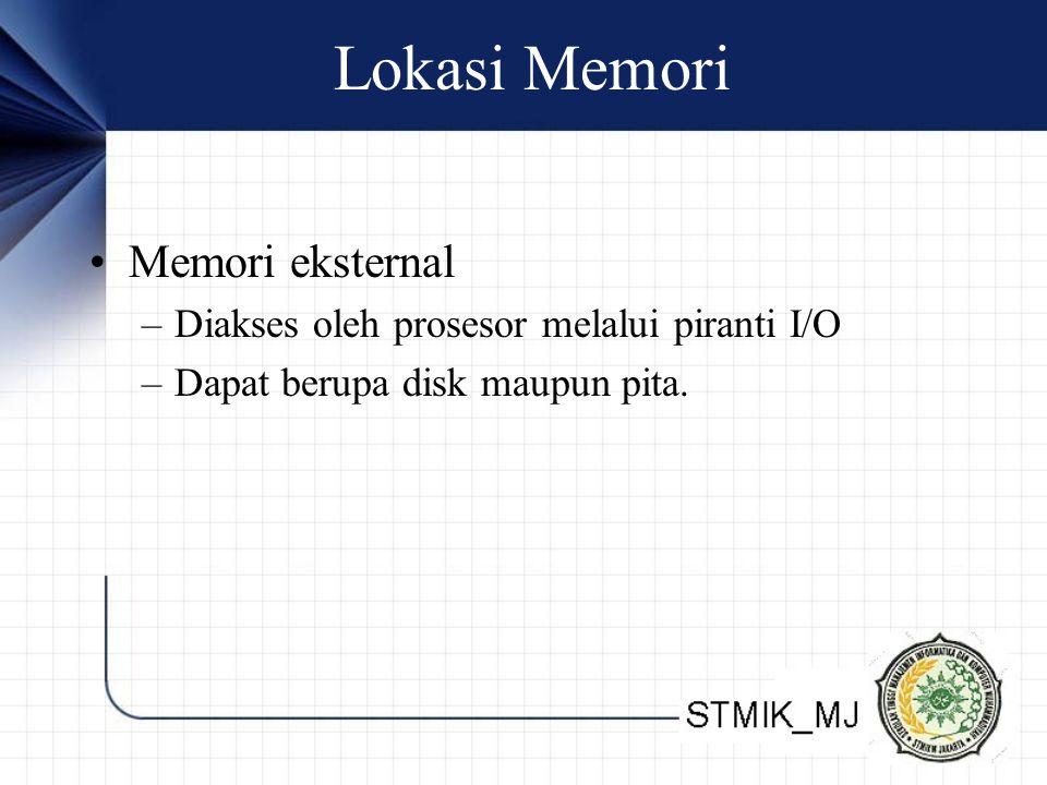 Lokasi Memori Memori eksternal –Diakses oleh prosesor melalui piranti I/O –Dapat berupa disk maupun pita.