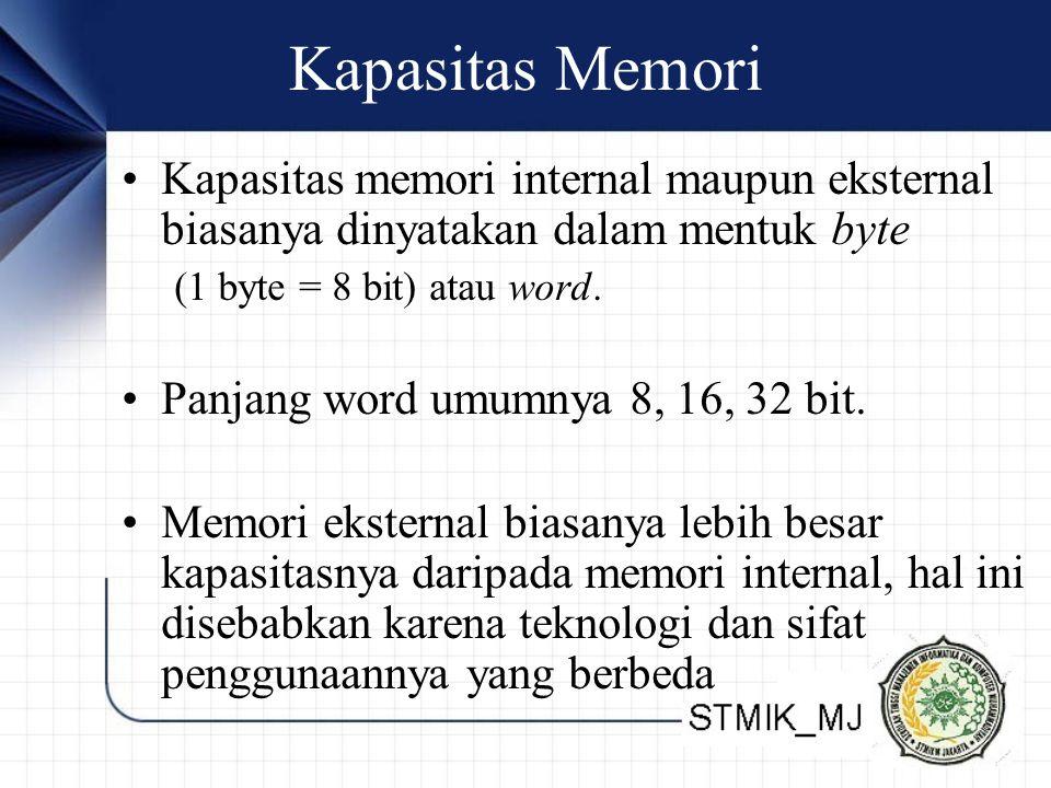 Kapasitas Memori Kapasitas memori internal maupun eksternal biasanya dinyatakan dalam mentuk byte (1 byte = 8 bit) atau word. Panjang word umumnya 8,