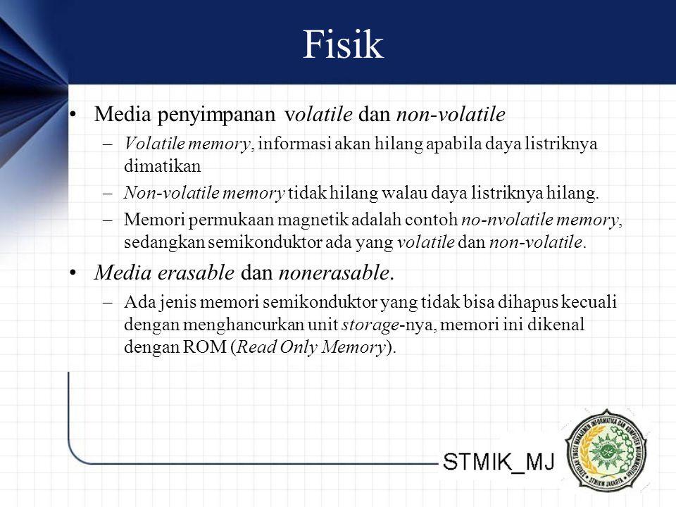Fisik Media penyimpanan volatile dan non-volatile –Volatile memory, informasi akan hilang apabila daya listriknya dimatikan –Non-volatile memory tidak