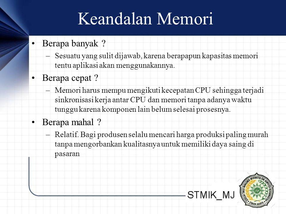 Keandalan Memori Berapa banyak ? –Sesuatu yang sulit dijawab, karena berapapun kapasitas memori tentu aplikasi akan menggunakannya. Berapa cepat ? –Me
