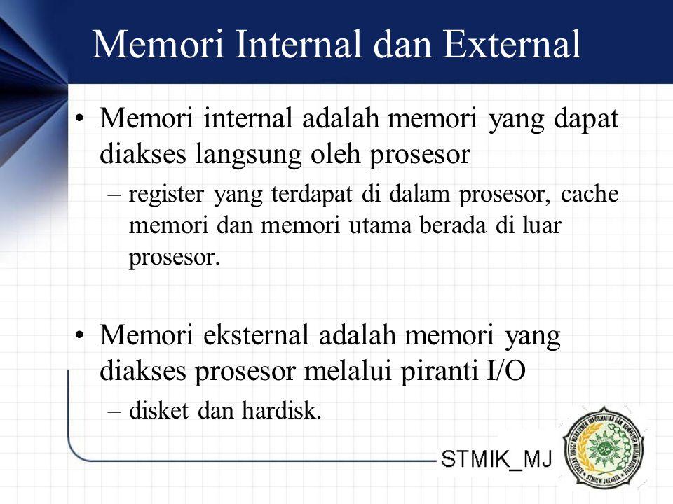 Memori Internal dan External Memori internal adalah memori yang dapat diakses langsung oleh prosesor –register yang terdapat di dalam prosesor, cache