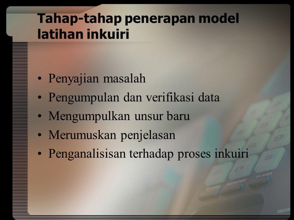 Tahap-tahap penerapan model latihan inkuiri Penyajian masalah Pengumpulan dan verifikasi data Mengumpulkan unsur baru Merumuskan penjelasan Penganalisisan terhadap proses inkuiri