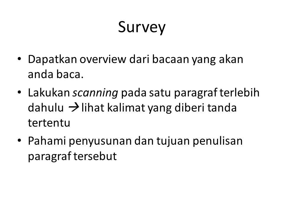 Survey Dapatkan overview dari bacaan yang akan anda baca.