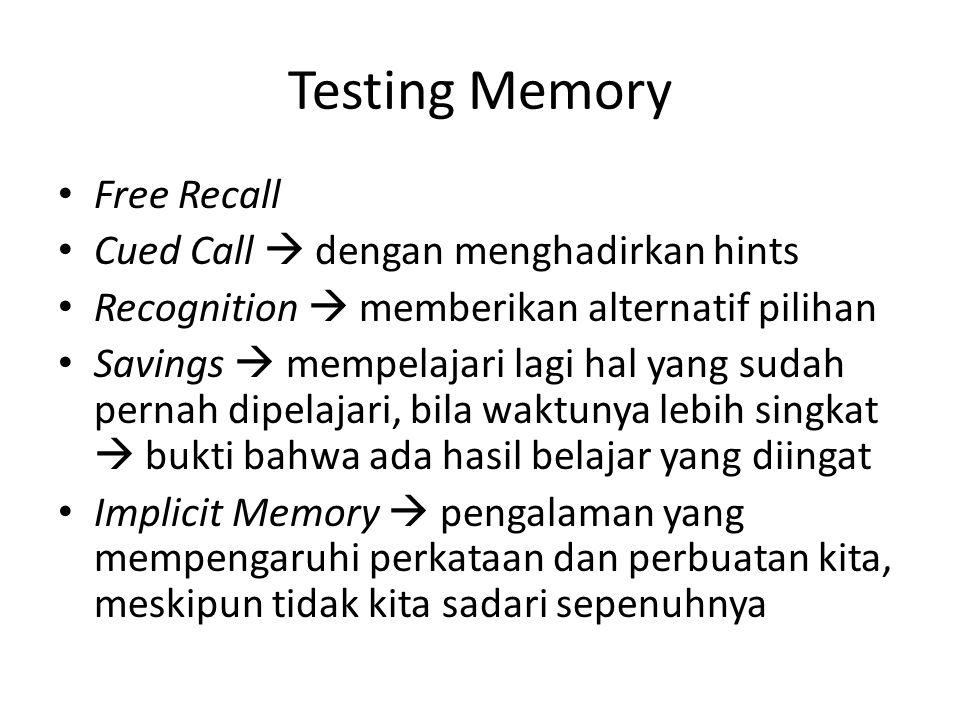 Testing Memory Free Recall Cued Call  dengan menghadirkan hints Recognition  memberikan alternatif pilihan Savings  mempelajari lagi hal yang sudah pernah dipelajari, bila waktunya lebih singkat  bukti bahwa ada hasil belajar yang diingat Implicit Memory  pengalaman yang mempengaruhi perkataan dan perbuatan kita, meskipun tidak kita sadari sepenuhnya